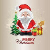 Frohe Weihnachten Einladungsgrußkarte mit Weihnachtsmann und Geschenken vektor
