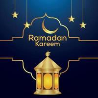 Ramadan Kareem islamisches Festival Einladungsgrußkarte mit Vektorlaterne und goldenem Mond vektor
