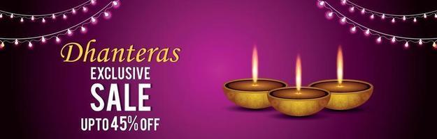 glad dhanteras försäljningsbanner eller rubrik på kreativ bakgrund med diwali diya vektor