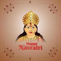 glad navratri festival i Indien firande gratulationskort med vektorillustration av gudinnan Durga vektor