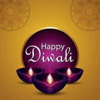 lycklig diwali inbjudningskort med realistisk diwali diya på gul bakgrund vektor