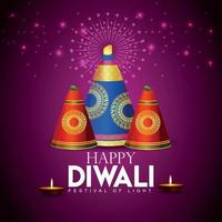 lycklig diwali festival för ljus firande gratulationskort med kreativa diwali diya vektor