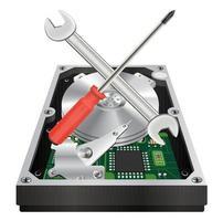 Innenansicht einer internen Festplatte mit Schraubenschlüssel und Schraubendreher vektor