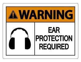 Warnung Gehörschutz erforderlich Wandschild auf weißem Hintergrund vektor
