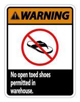 Warnung keine offenen Zehen Schuhe Zeichen auf weißem Hintergrund vektor