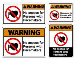 Warnung kein Zugang für Personen mit Schrittmachersymbolzeichen auf weißem Hintergrund vektor