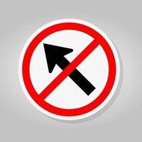 verbieten Sie, nach links durch das Pfeil-Verkehrszeichen zu gehen vektor
