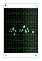Smartphone mit grüner Herzfrequenz auf dem Bildschirm vektor