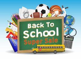 zurück zur Schule Verkauf Tafel Bildung Objekte vektor