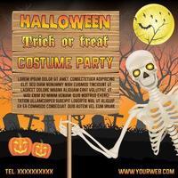Halloween-Werbebanner mit Skelett auf Friedhofsplakat vektor
