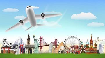 Flugzeug, das am Himmel über den Wahrzeichen der Welt fliegt vektor