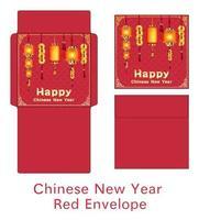 chinesischer Neujahrsumschlag mit chinesischen Lampen vektor