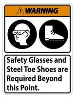Darüber hinaus sind Warnschilder und Stahlkappenschuhe erforderlich vektor