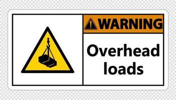 Warn-Overhead-Lasten unterschreiben auf transparentem Hintergrund vektor