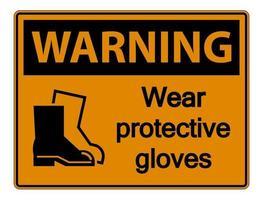 Warnung tragen schützendes Schuhzeichen auf transparentem Hintergrund vektor