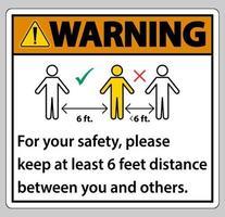 Warnung Halten Sie zu Ihrer Sicherheit einen Abstand von 6 Fuß ein. Bitte halten Sie einen Abstand von mindestens 6 Fuß zwischen Ihnen und anderen Personen ein vektor