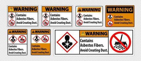 Warnschild enthält Asbestfasern, um Staubbildung zu vermeiden vektor