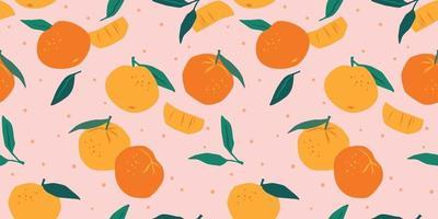 Vektor nahtloses Muster mit Mandarinen