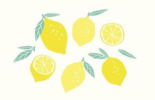 uppsättning ritade citroner. citrusfrukter, citroner, limefrukter. vektor illustration. isolerade element
