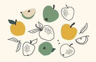 Satz gezeichnete Äpfel, Vektorillustration. isolierte Elemente vektor