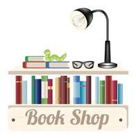 Buchladen Holzplatte mit Buch Lesebrille und Leselampe auf einem Holz Bücherregal vektor