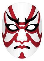japan kabuki mask på en vit bakgrund vektor