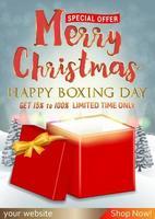 Frohe Weihnachten und Boxing Day Sale mit Geschenkbox vektor