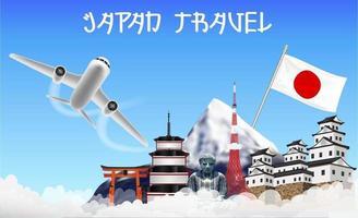 Japan reisen mit Flugzeug und Sehenswürdigkeiten vektor