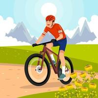Mann reitet auf Berg vektor