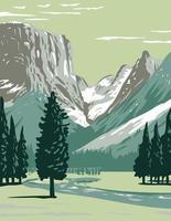 oberer grüner Fluss auf der Westseite der kontinentalen Teilung im Bridger-Teton-Nationalwald im Windflussbereich wyoming wpa Plakatkunst vektor