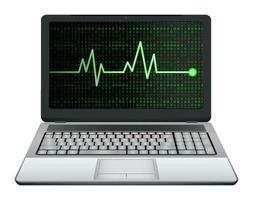 Laptop mit grüner Herzfrequenz auf dem Bildschirm vektor