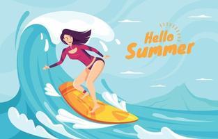 Surfmädchen, das Ozeanwelle an Bord reitet vektor