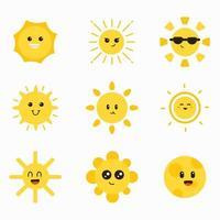 niedliche Sonne Charakter Element Sammlung vektor