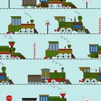 nahtloser Vektorweinlese lustiger Zug auf einem blauen Hintergrund. vektor