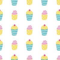 Cupcakes, Muffins mit Sahne und Beeren auf weißem Grund. Vektor nahtloses Muster in einem flachen Stil