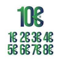 100. Jahrestag stellte Feiervektorschablonenentwurfsillustration ein vektor