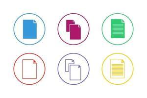 färgglada dokument ikonuppsättning vektor