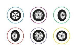 buntes Rad Icon Set vektor