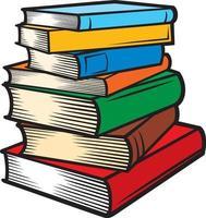 bunt med böcker i färg vektor