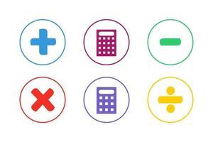färgglada beräkning ikonuppsättning. matematisk beräkning ikonuppsättning vektor