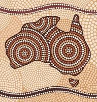 Karte von Australien im abstrakten Stil der Aborigines gezeichnet vektor