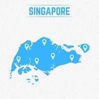 Singapur einfache Karte mit Kartensymbolen vektor