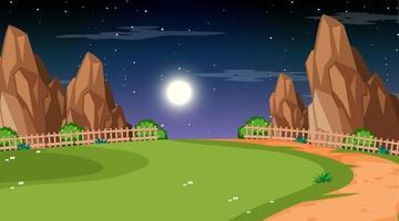 leere Naturparklandschaft bei Nachtszene mit Weg durch die Wiese vektor