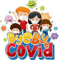 bye bye covid Schriftart mit vielen Kindern, die Maske tragen vektor