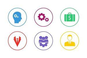 bunte Geschäftsführung Icon Set vektor