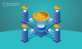 Konzept der Datenanalyse der Block-Chain-Technologie für Marketinglösungen für Investoren vektor