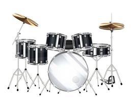 echtes schwarzes Schlagzeug auf weißem Hintergrund vektor