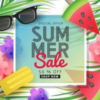 sommaren försäljning affisch banner bakgrund mall vektor