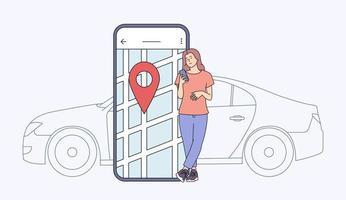 Carsharing und Online-Bewerbungskonzept. junge Frau nahe Smartphone-Bildschirm mit Route und Standortpunkt auf einem Stadtplan mit Autohintergrund. flache Vektorillustration vektor