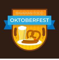 Flaches bayerisches Lebensmittel für Oktoberfest-Ausweis mit Steigung Hintergrund-Vektor-Illustration vektor